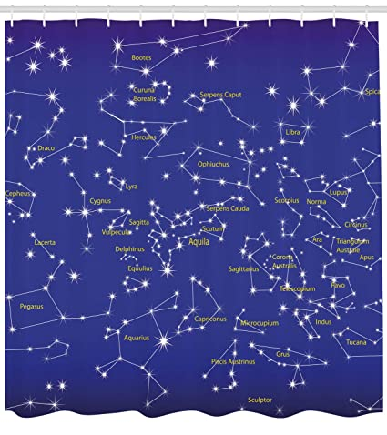 Ambesonne Constellation Shower Curtain Astronomy Science Names Of Stars Zodiac Signs Night Sky Fabric