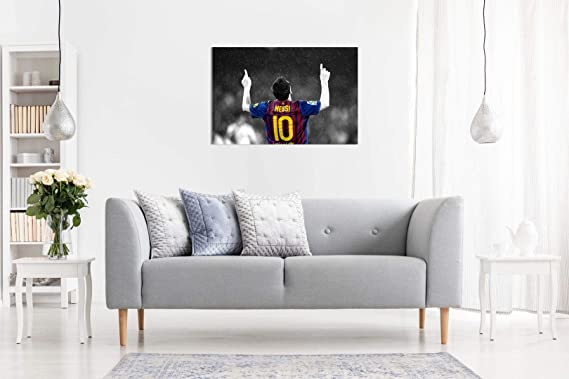 Amazon.com: Lionel Messi FC Barcelona lona arte de la pared ...