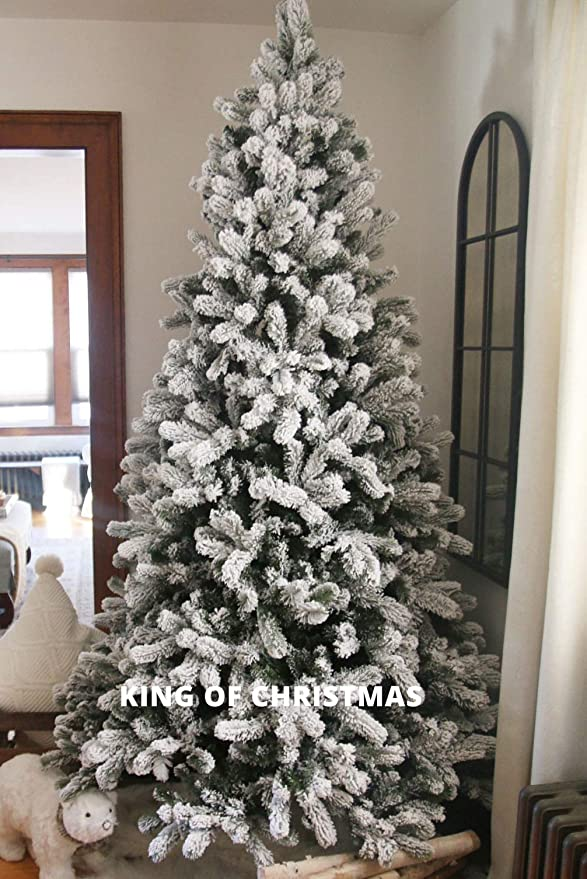 King Of Christmas 7 5 Foot Flock Artificial Christmas Tree Unlit