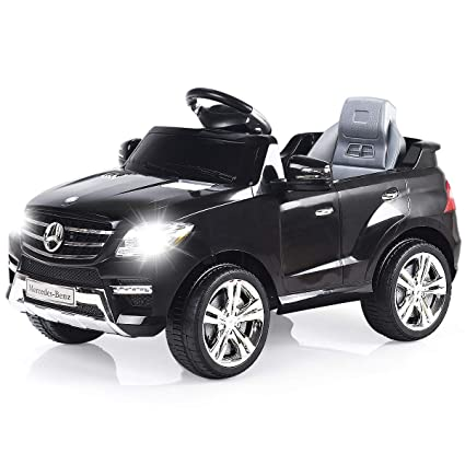 Costzon Ride On Car, Licensed Mercedes Benz ML350 6V Electric Kids Vehicle,  2WD Powered Manual/Parental Remote Control Modes Car with Microphone,