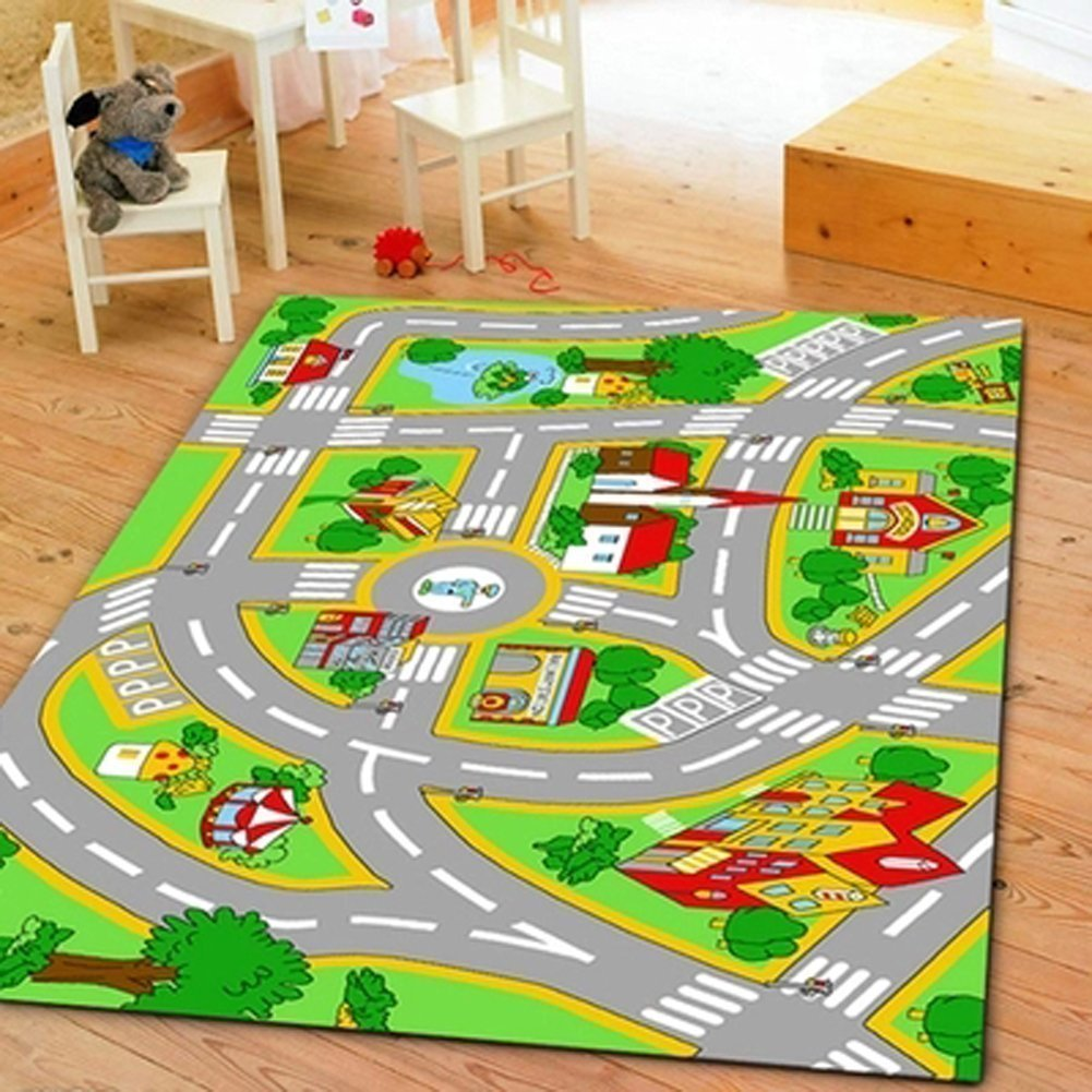 Huahoo Kids Rug With Roads Kids Rug Play Mat City Street Map