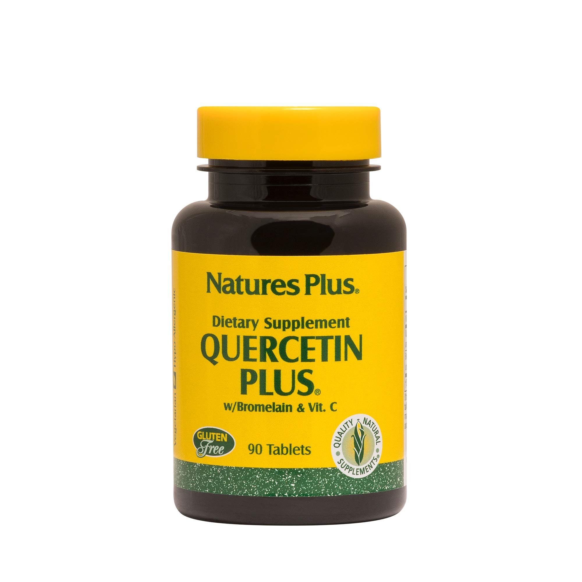 Natures Plus Quercetin Plus with Vitamin C and Bromelain - 650 mg, 90 Vegetarian Tablets - Allergy Relief Supplement, Antioxidant, Anti inflammatory - Gluten Free - 45 Servings