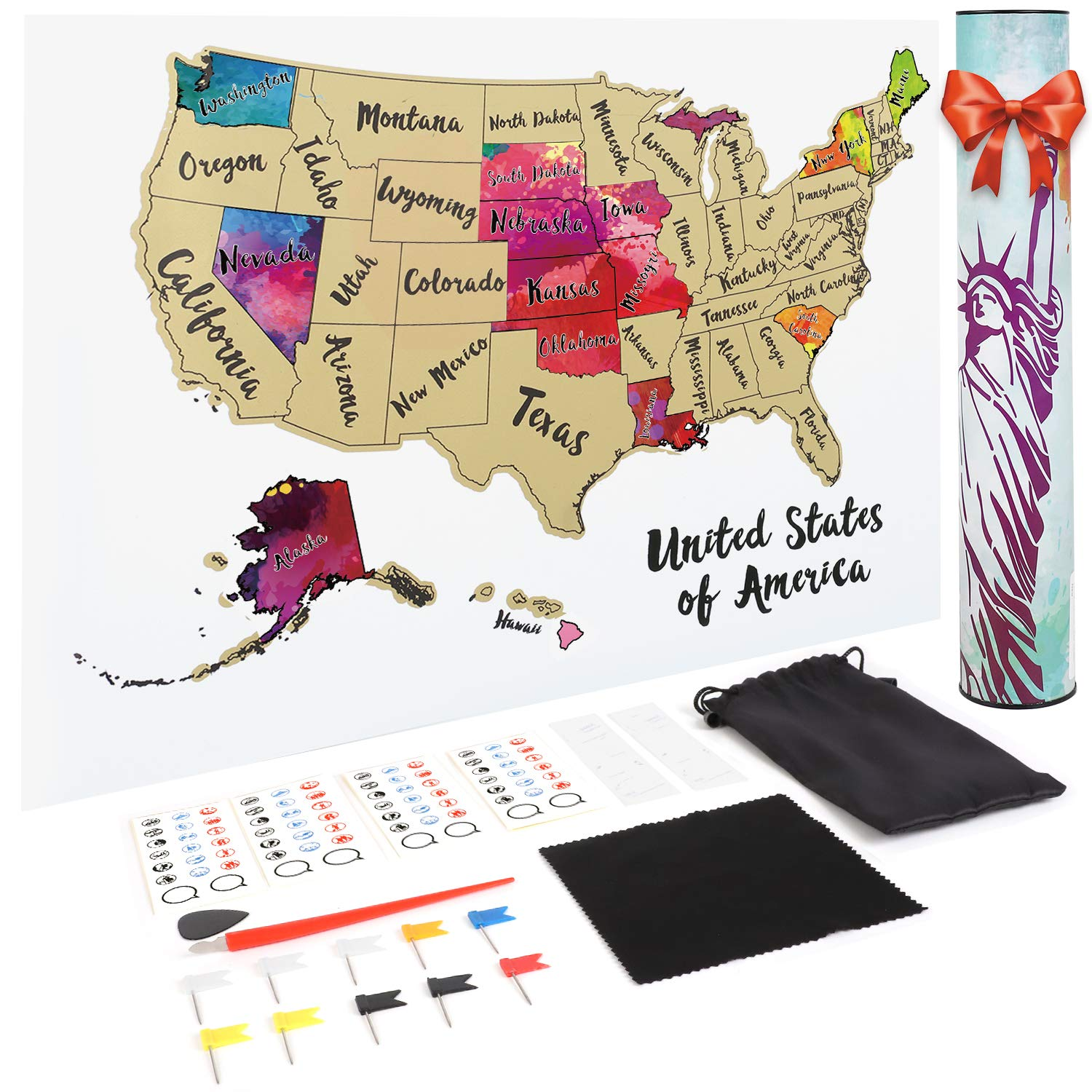 JARLINK Scratch Off USA Map, 12X17'' United States Map with Unique Accessories Set, Personalized Travel Tracker Poster USA & Map Poster, Perfect Gift for Travelers