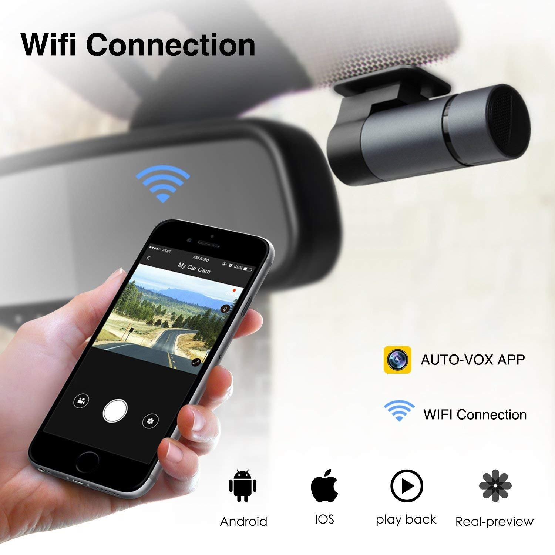 AUTO-VOX Upgraded WiFi Dash Cam D6 Pro FHD 1080P Dashboard Camera Recorder  Car Dash Cam with Super Night Vision,G-Sensor,WDR,Loop Recording,300°Rotate