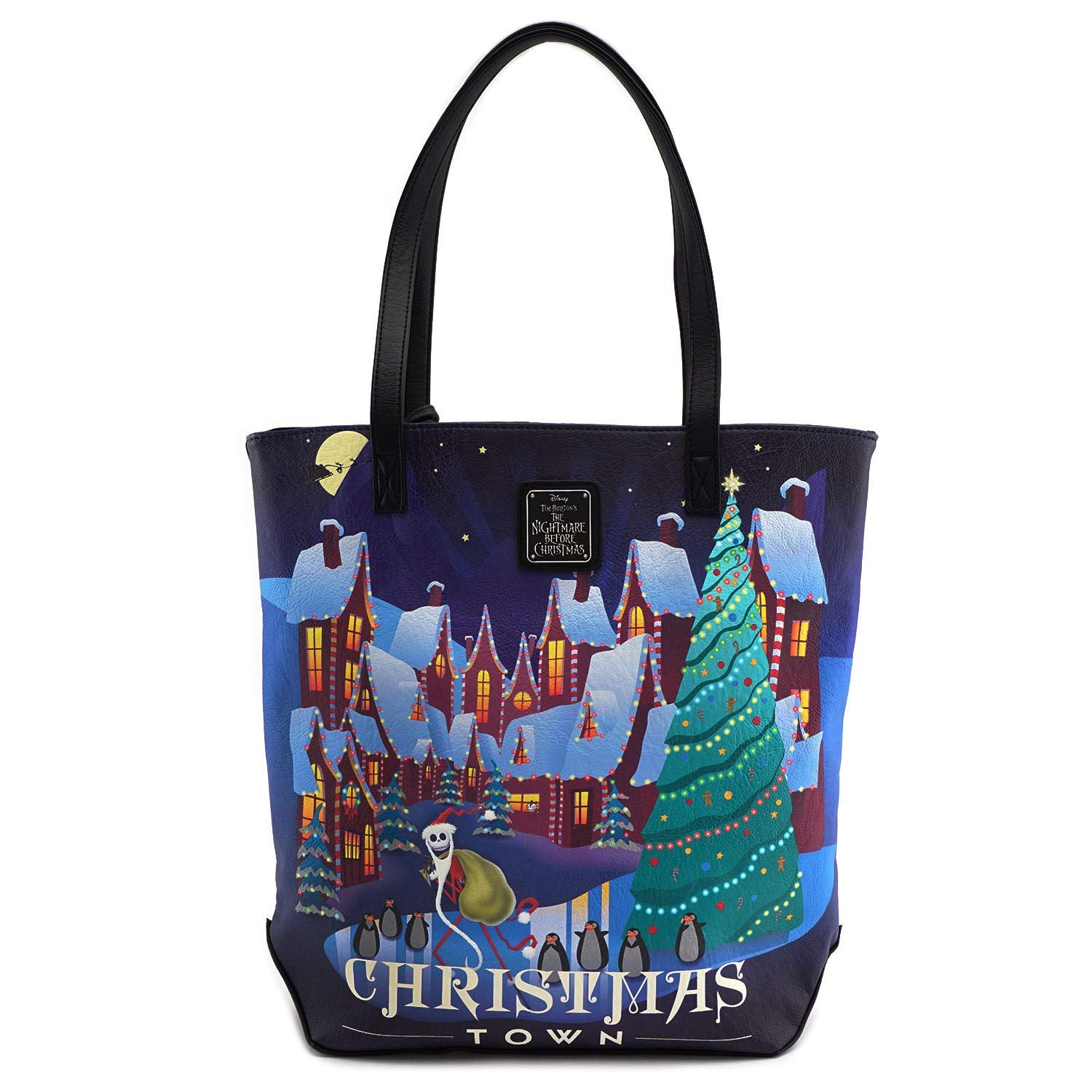 3dcd5763d51 Amazon.com  Nightmare Before Christmas Halloween and Christmas Town 2-Sided  Tote Purse  Shoes