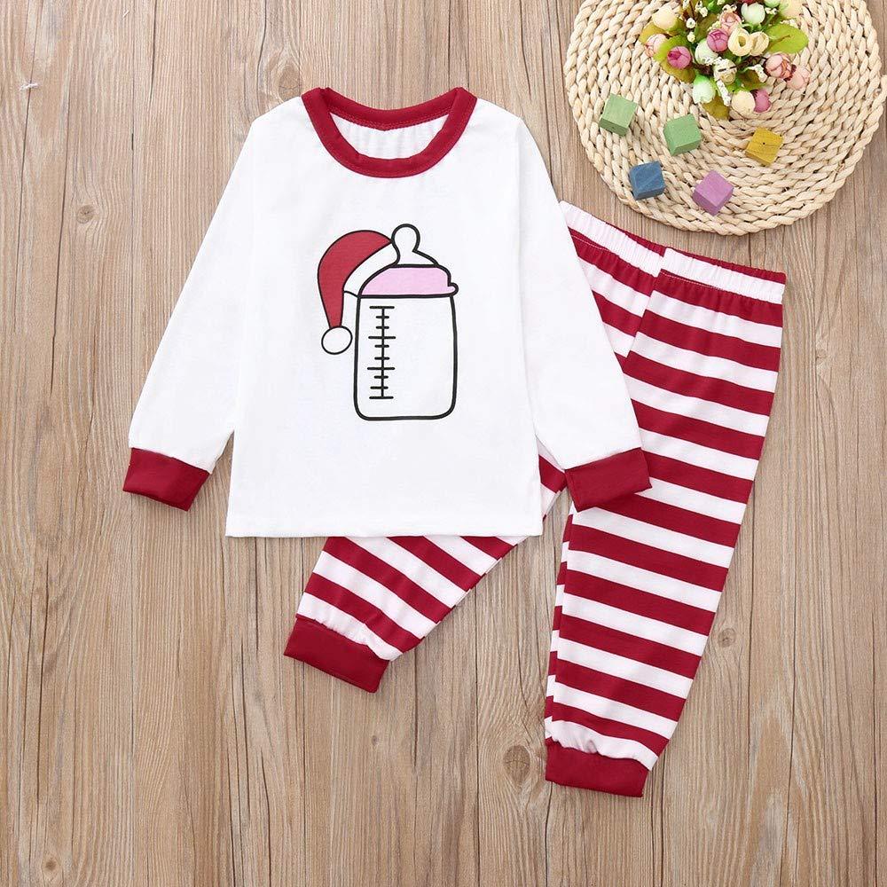 Christmas Holiday Pj Pajamas Christmas Hats Print Tops Match Pajamas Pjs Stripe Pants Family Clothes Set Outfit