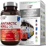 Antarctic Krill Oil WIld Caught - Softgels With Astaxanthin - EPA, DHA, Omega 6 Fatty Acids - By Purity Labs - 2000mg Per Serving With Phospholipids, Omega 3 - Heart Brain and Joint Health, 30 Days