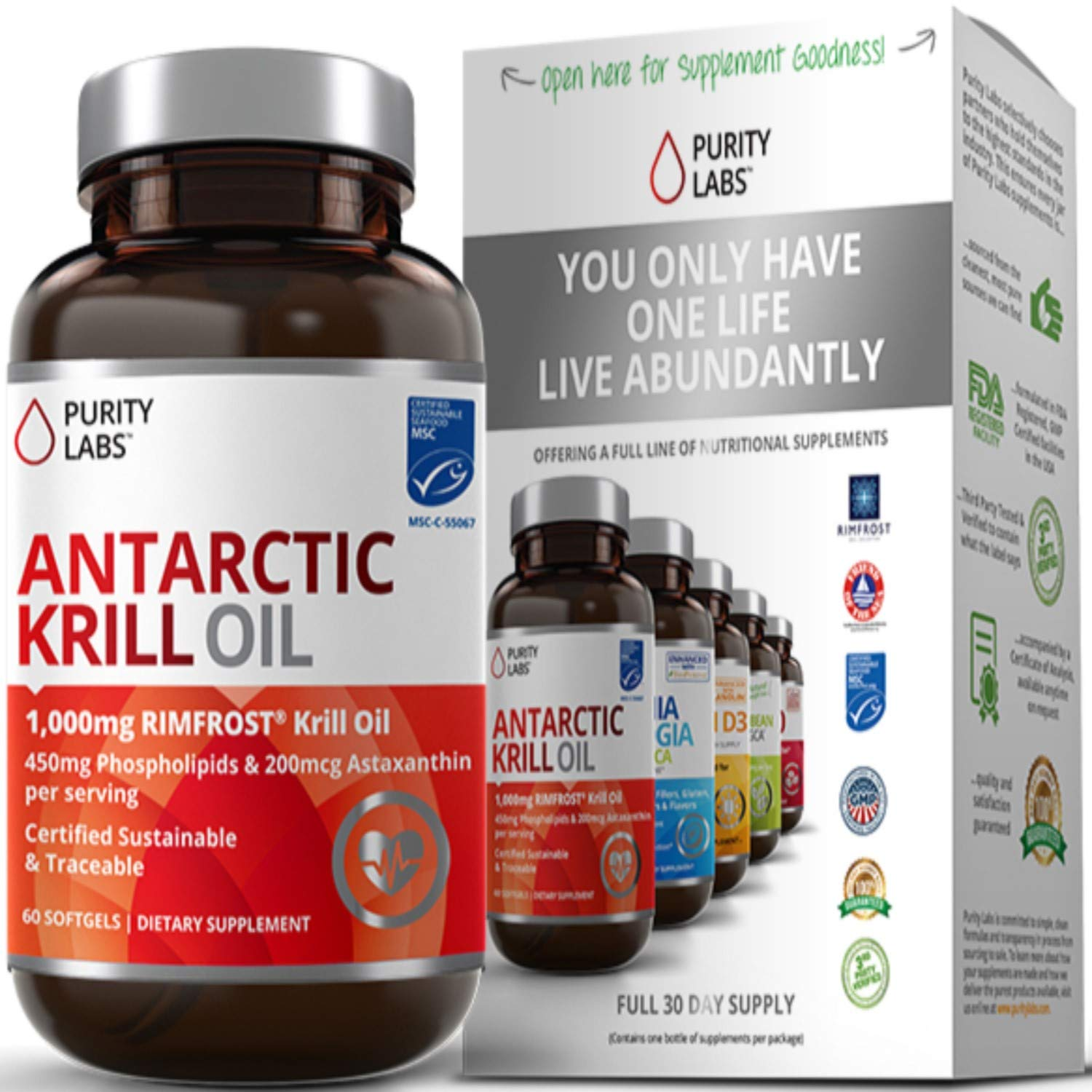 Pure Antarctic Krill Oil with Astaxanthin and K-REAL® - 1,000mg per serving - 60 Liquid Softgels - Contains DHA & EPA Omega 3s and Phospholipids - Sus by Purity Labs