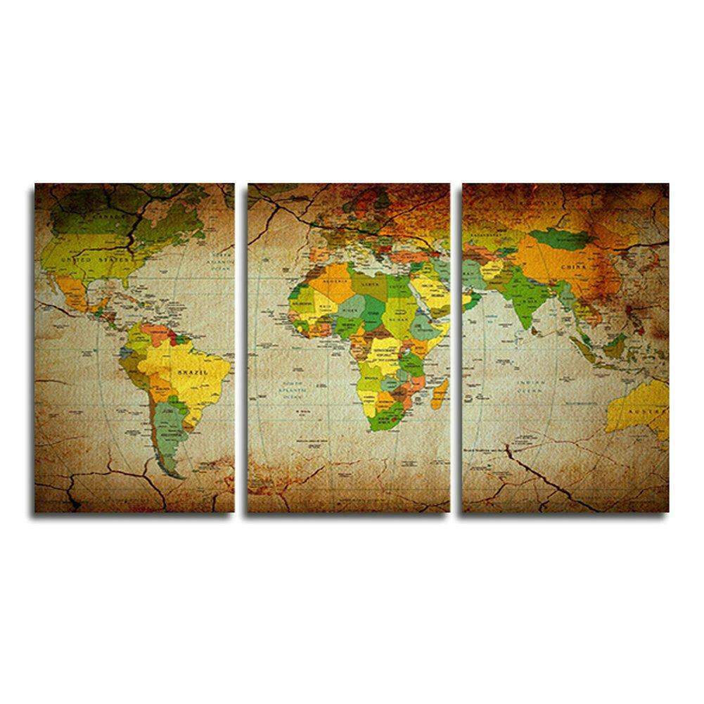 Amazon.com: SwmArt 3 panel painting Vintage world map Moon oil ...