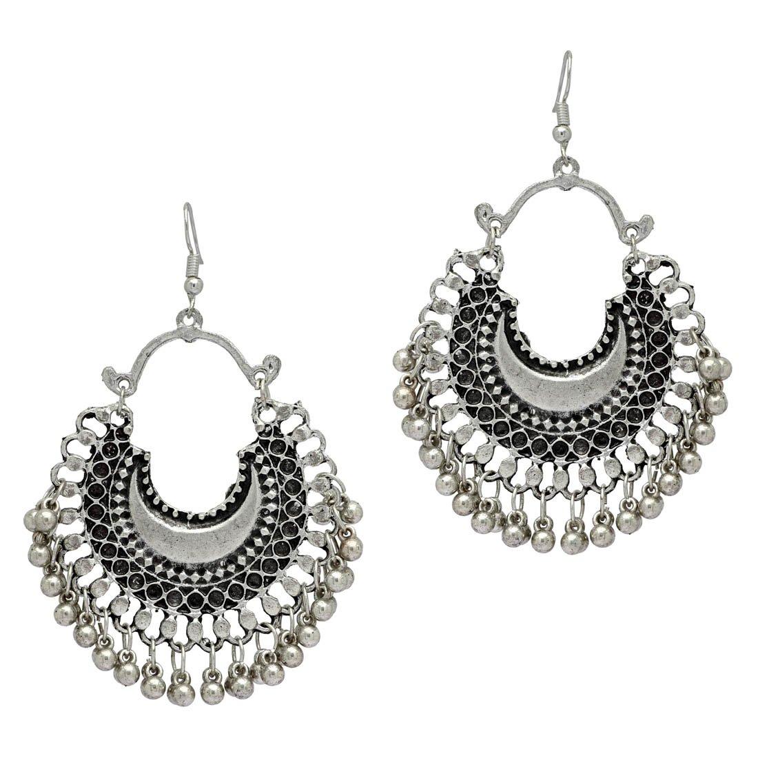cefc11094 Olympian Enterprises Oxidised Silver Afghani Tribal Chandbali Hook Earrings  for Women: Amazon.in: Jewellery