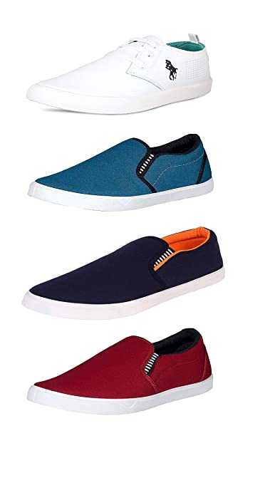 83b7a6638b1 BERLOC Men s Classic White Shoes Combo Pack (  Buy Online at Low ...