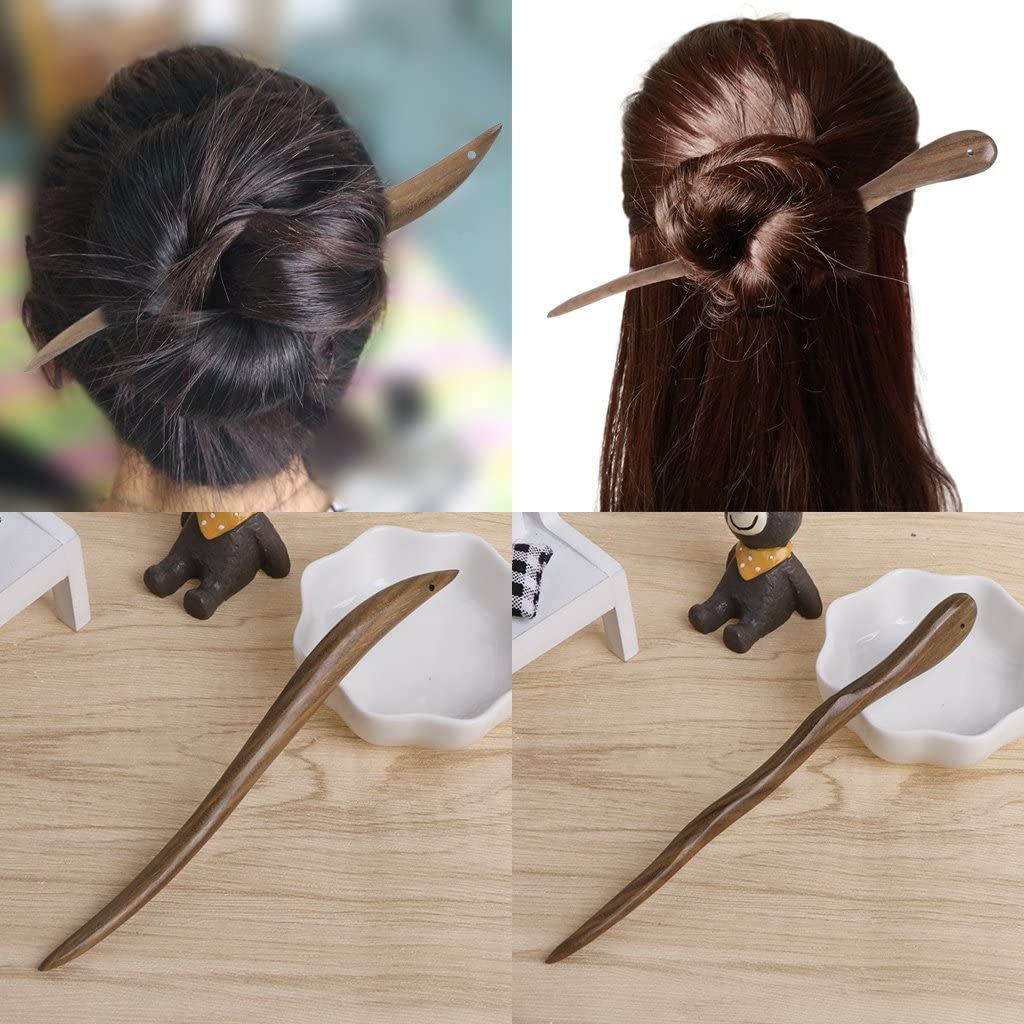 Simplelife Wooden Hair Stick Pin Classic Hairpins Natural Wood Jewelry Hair Sticks Vintage Ebony For Women