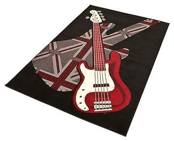 Teppich schwarz rot  Motiv Teppich 'Gitarre' in Schwarz Rot Größe 140 x 200 cm Florhöhe ...