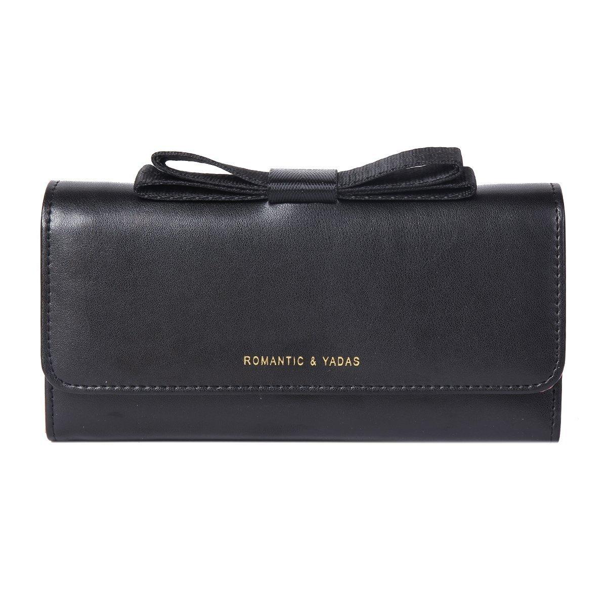Damara Womens Elegant Bow Top Trifold Utility Clutch Wallet,Black