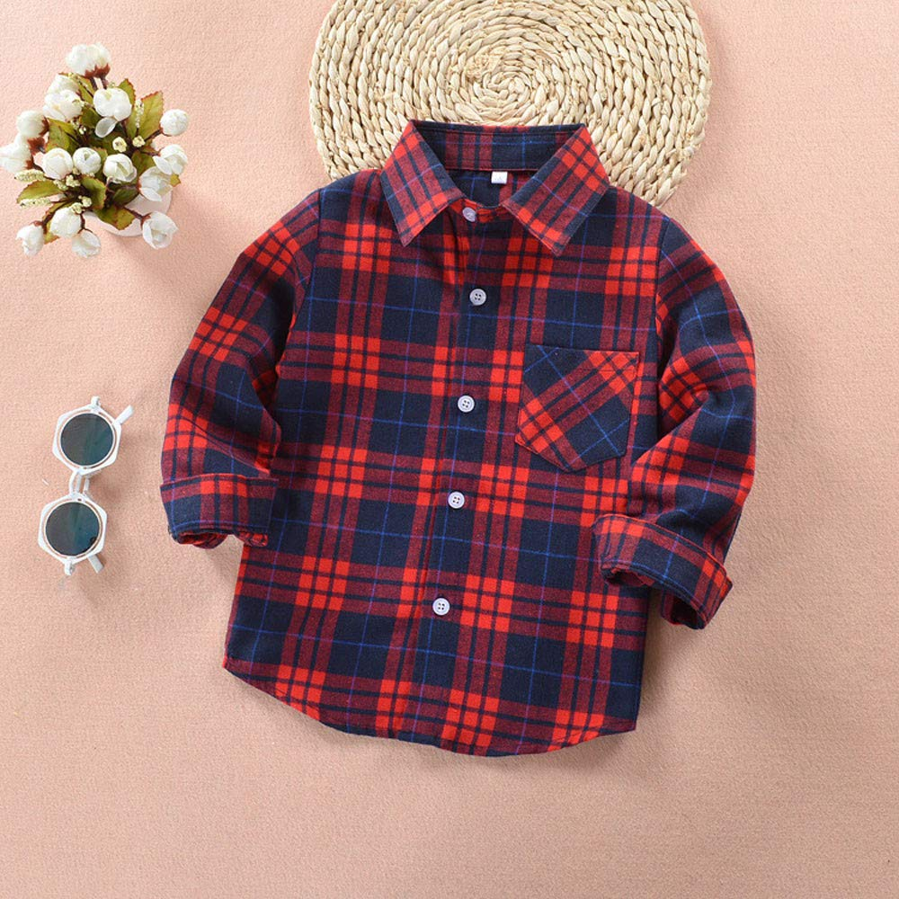 Winsummer Baby Girls Boys Short Sleeve Flannel Shirt Button Down Plaid Blouse Playsuit Tops with Pocket