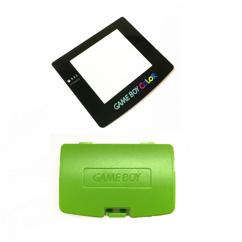 Grü n Akku Schutzhü lle & Display Objektiv fü r Game Boy Color GBC System Ersatz (mit Rü ckseite selbstklebend) Perfect Part