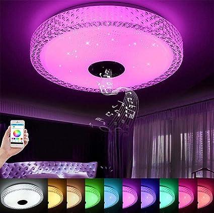 Luz LED para techo de música, con altavoz Bluetooth 36W, lámpara de techo con caída regulable de 90-265V, luz de fiesta doméstica RGB con control ...