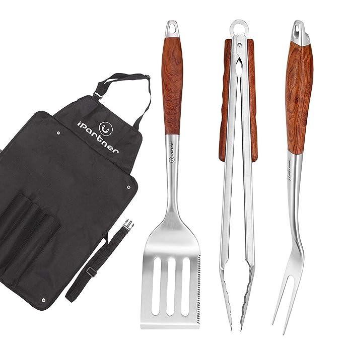 iPartner Juego herramientas barbacoa, 3 piezas, Grill Pinzas ...