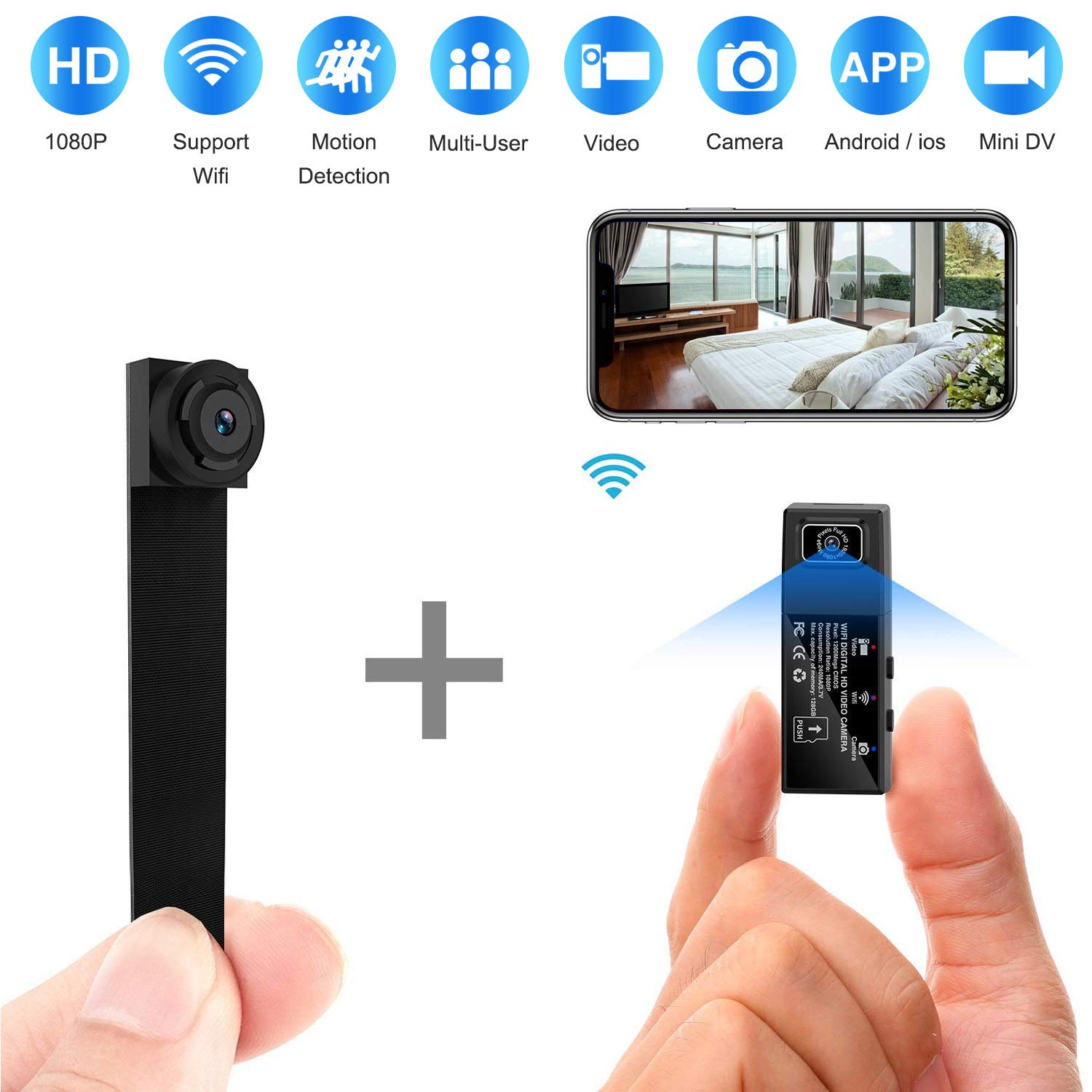 Hidden Spy Camera WiFi,HD 1080P Portable Wireless Small IP Camera Nanny Cam with Interchangeable Lens/Motion Detection for Home Office by ELValley
