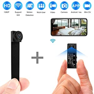 Hidden Spy Camera WiFi,HD 1080P Portable Wireless Small IP Camera Nanny Cam with Interchangeable Lens/Motion Detection for Home Office