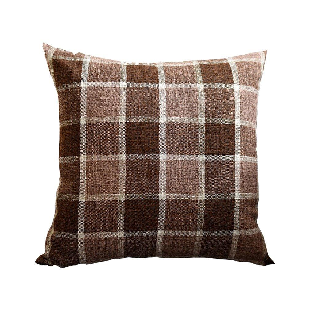 Amazon.com: Yxsd Plaid Fabric Soft Decorative Square Pillow ...