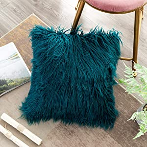 OJIA Deluxe Home Decorative Super Soft Plush Mongolian Faux Fur Throw Pillow Cover Cushion Case (18 x 18 Inch, Teal Blue)