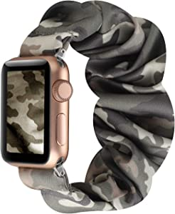 WONMILLE Compatible with Apple Watch Band Scrunchie 38mm/40mm Series 6/5/4, Cute Pattern Printed Elastic Bracelet Scrunchy Band for Iwatch 3/2/1 42mm/44mm Accessories (Camo Light Green, 38mm/40mm)