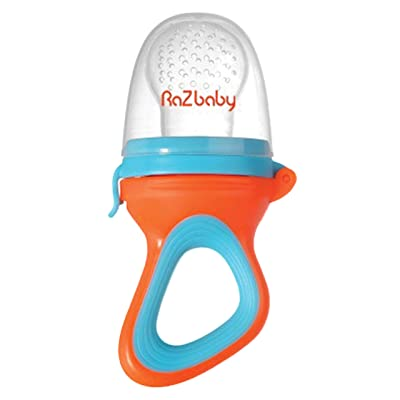 RaZbaby Baby Fruit Feeder/Food Feeder Pacifier, Infant Teething Toy Teether 6M+, Add Baby's Favorite Frozen Fruit or Fresh Food for Teething Relief, Silicone Pouch/Nipple, BPA Free, Orange/Blue : Baby