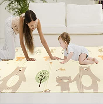 Toddlers and Kids. Folding Baby Crawling Play Mat Large Thick Portable Foam Camping Mat for Infants Babies