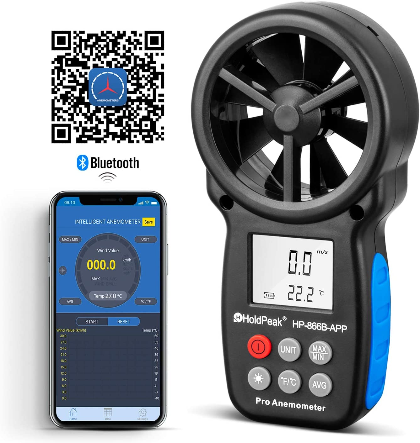 HOLDPEAK HP-866B-APP Digital Anemometer Handheld APP with Wireless Bluetooth Vane Wind Speed Meter for Measuring Wind Speed, Temperature, Wind Chill with Backlight (Black)