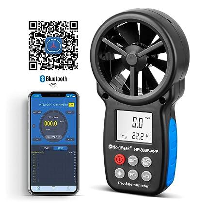 Holdpeak 866B-APP Wireless Bluetooth Digital Anemometer with Mobile APP or  USB - The Best Wind Speed Meter Measures Wind Speed + Temperature + Wind