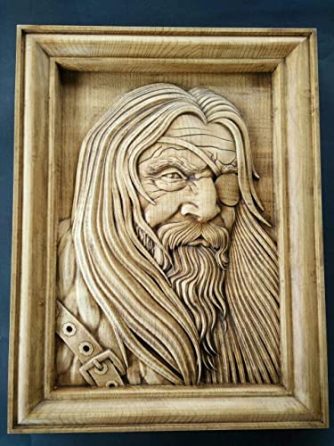 Amazon.com: Woodcarving of Odin one eyed God | Wotan, Norse Gods ...
