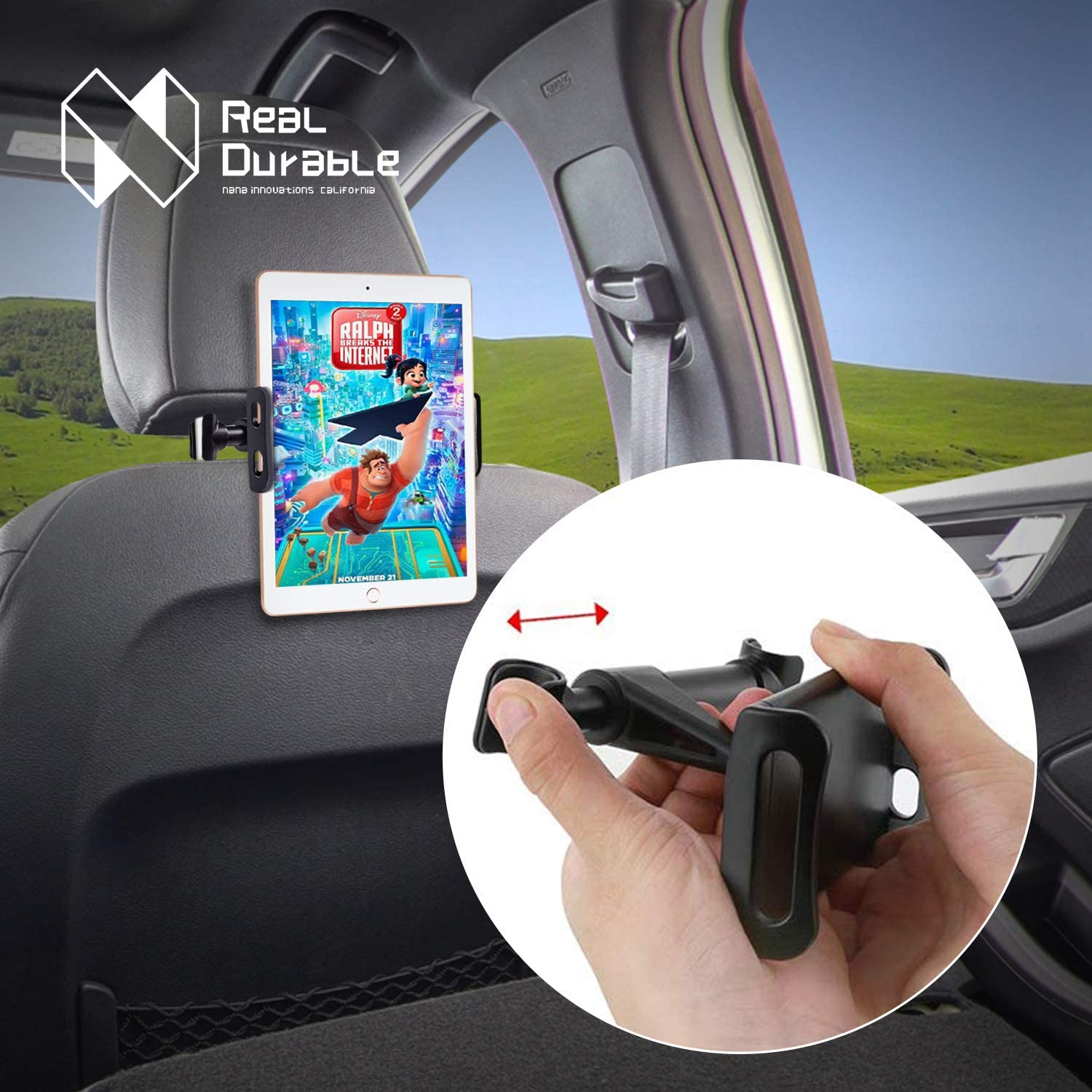 Other 4.7-10.5 Cellphones and Tablets Tablet Headrest Holder: Stand Cradle Compatible with Devices Such as iPad Pro Air Mini Black Samsung Galaxy Tabs Nana Innovations Car Headrest Mount