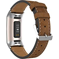Adepoy Leren armband voor Fitbit Charge 3, echt klassiek, verstelbare leren armband, compatibel met Fitbit Charge 3 en…