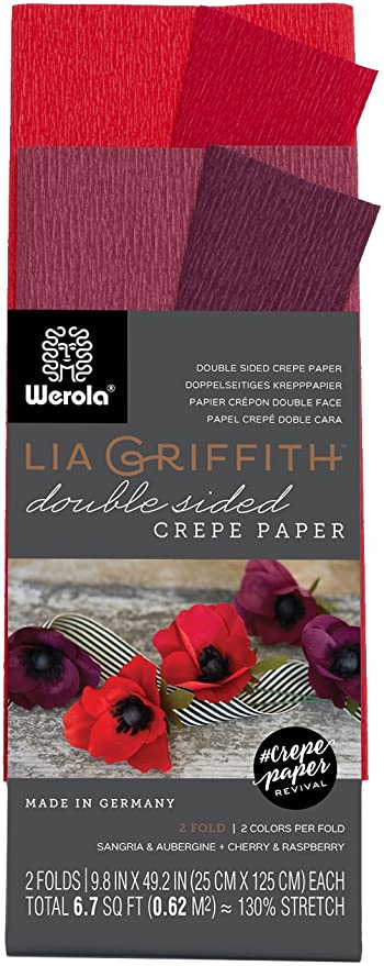 130/% STRETCH LIA GRIFFITH EXTRA FINE CREPE MAKE DIY FLOWERS 10 FOLDS