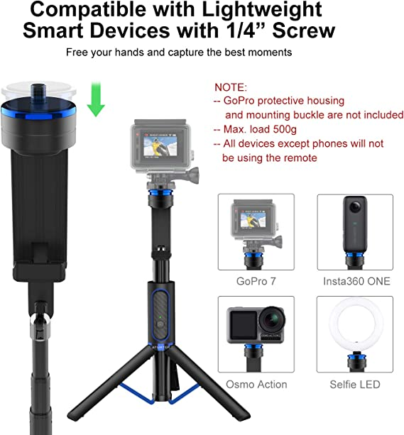 Portátil One Bullet Time Selfie Stick 1//4 Screw Port para cámara Insta