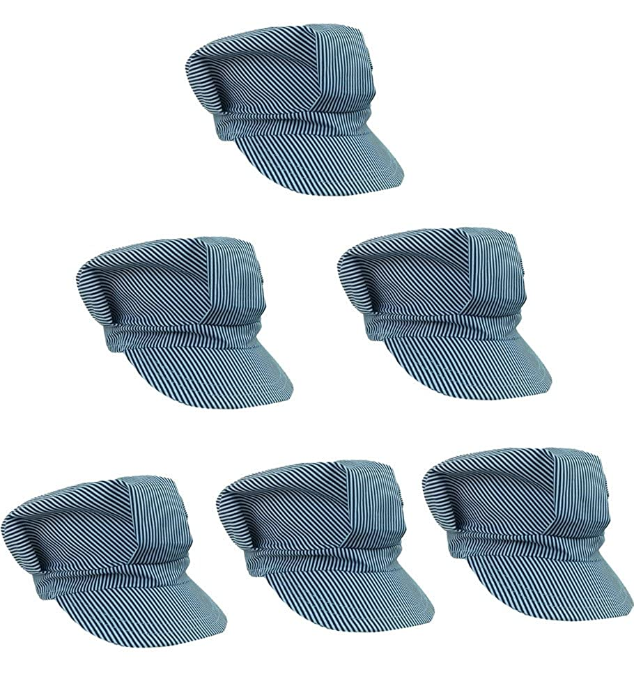 Adjustable Train Engineer Hats - Train Engineer Costume Hats (6 Pack) Funny Party Hats p-am196