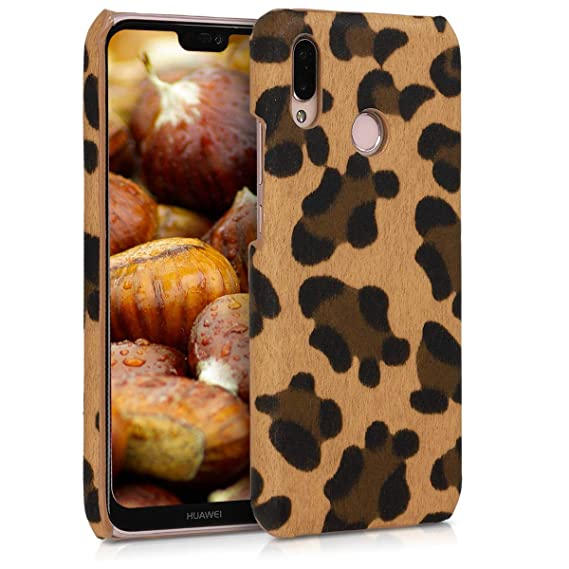 kwmobile Case for Huawei P20 Lite - Hard Plastic Anti-Scratch Shockproof Protective Smartphone Cover - Brown/Black/Light Brown