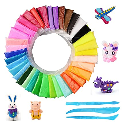 976b5f457 BESTZY Modeling Clay Air Dry Clay - 36 Colors Fluffy Slime, Super Soft and  Ultra