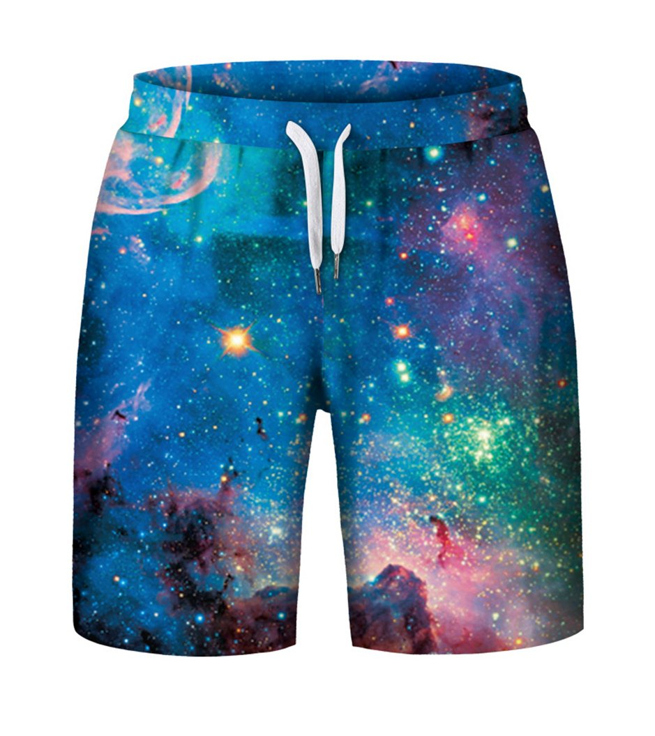 Prettyard Men Galaxy Stars 3D Full Print Colorful Starry Night Gym Shorts Pant PrettyardFashion