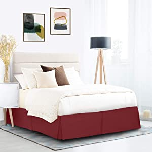 """Pleated Bed Skirt, Wrap Around Bed Skirt, Easy Fit 14"""" Inch Bed Skirt, Soft Double Brushed Premium Microfiber Ruffle Bed Skirt, Luxury Bedskirt, Hotel Quality Dust Ruffle, Twin XL Bed Skirt Red"""