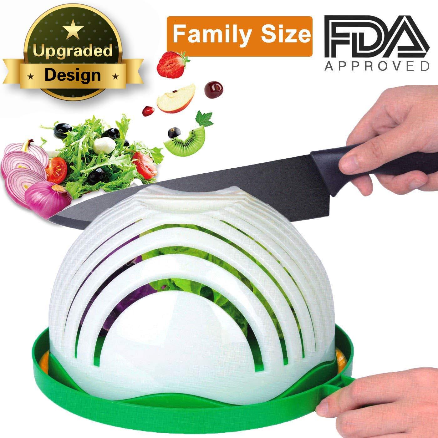 Salad Cutter Bowl, AngLink Salad Chopper Bowl 60 Seconds Salad Maker Family-Sized All in One for Kitchen Fast Fruit Vegetable Salad Slicer