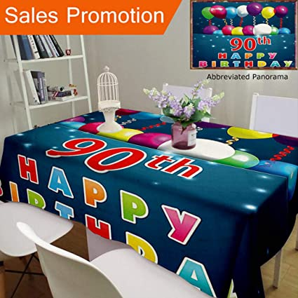 Unique Design Cotton And Linen Blend Tablecloth 90Th Birthday Decorations Joyful Surprise Party Mood Best Wishes