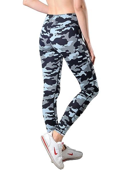 760f932785 QUEENIEKE Women Power Stretch Leggings Plus Size Medium Waist Yoga Pants  Hidden Pocket Running Tights Size L Color Blue Camo: Amazon.co.uk: Clothing