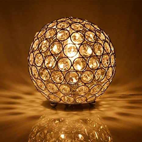 Floodoor Crystal Spherical Table Lamp Silver Decorative Bedside Desk lamp for Bedroom, Living Room, Dining Room, Kitchen - - Amazon.com