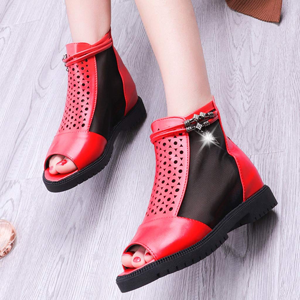 Women Outdoor Fish Mouth Flat Mesh Sports Shoes Breathable platform Sandals by LUXISDE (Image #2)
