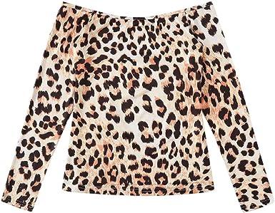 Camisa De Mujer,YGbuy Leopardo Sexy Temperamento Palabra Hombro Camisa Camisa De Manga Larga Camisa Informal Casual Camisa Suelta Chaleco Suéter Blusa Camiseta Salvaje: Amazon.es: Ropa y accesorios