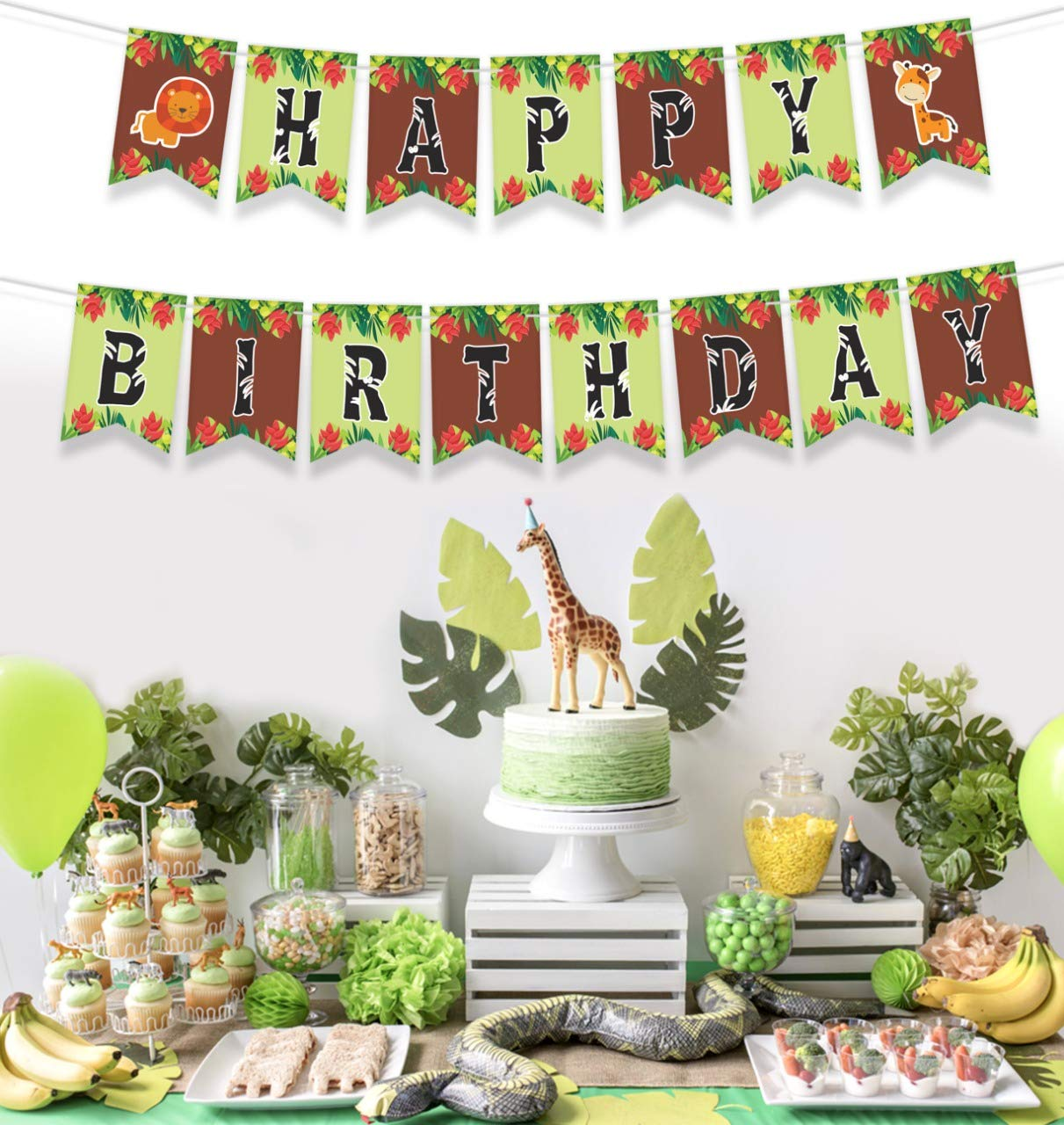 Forest Theme Birthday Banner JUNGLE THEMED HAPPY BIRTHDAY BANNER Animal Baby Shower Decorations Animal Birthday Party Decorations Baby Animals Decorations 8*5.5 Inches Forest Animals Birthday Party Decor Jungle Safari Party Supplies