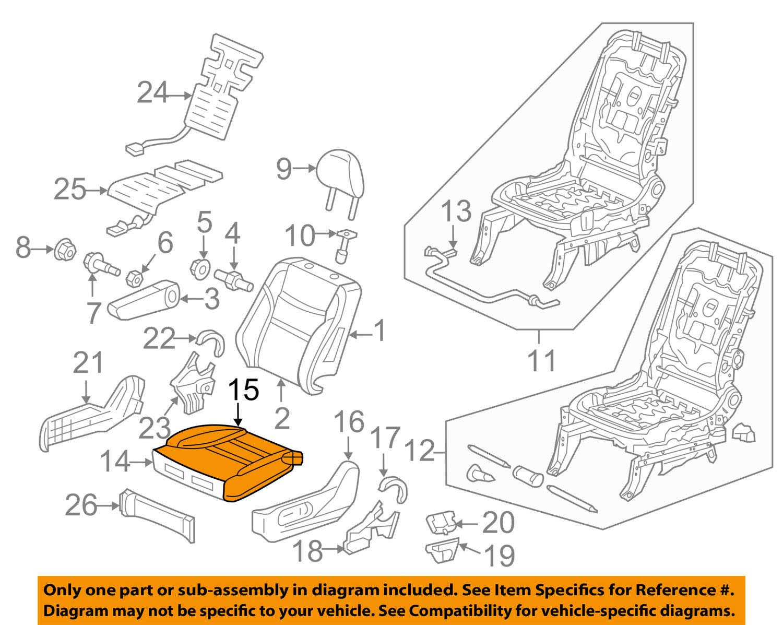 Left Front Honda Genuine 81531-SH0-A01ZB Seat Cushion Trim Cover
