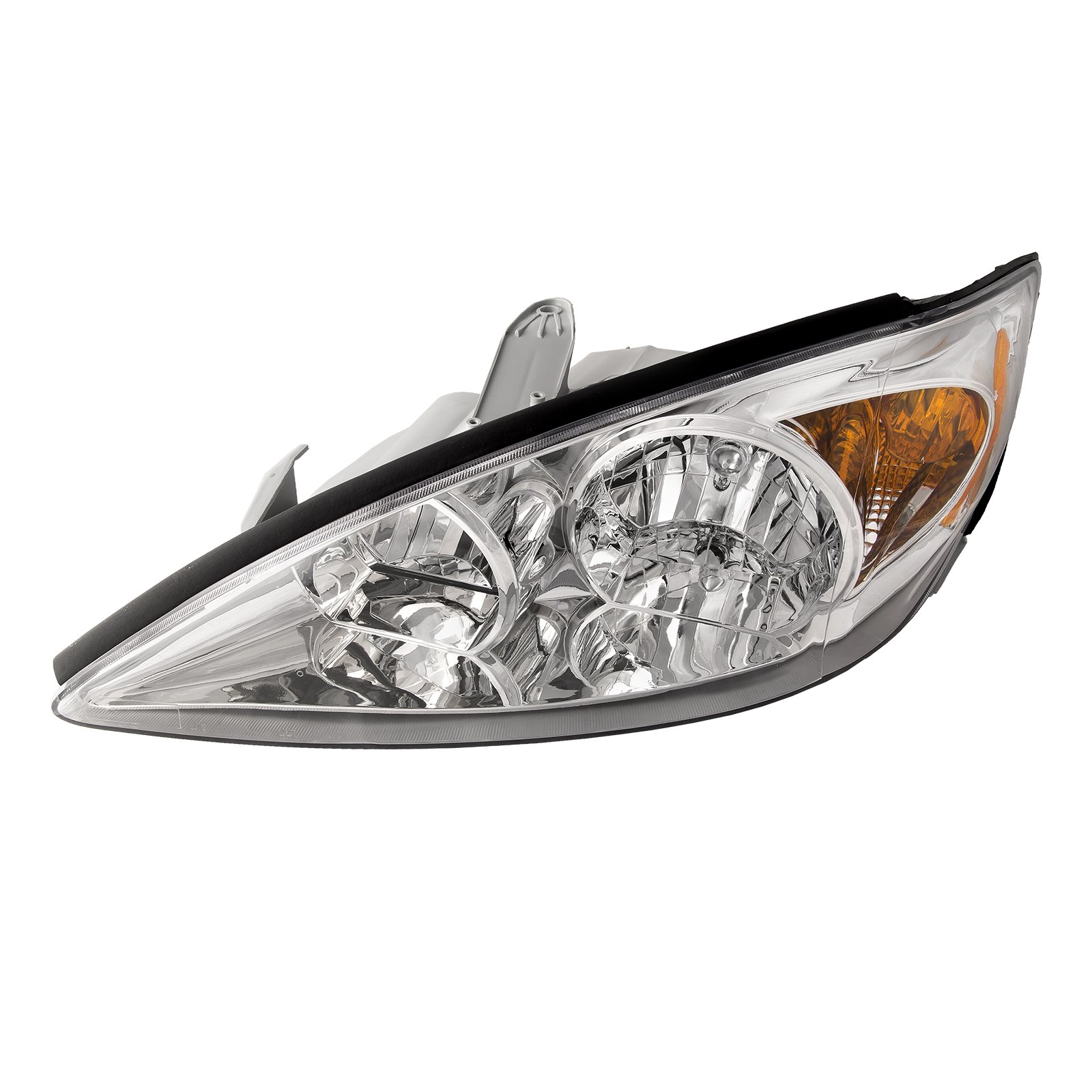 HEADLIGHTSDEPOT Chrome Housing Halogen Headlight Compatible With Toyota Camry 2002-2004 LE/XLE Models Includes Left Driver Side Headlamp